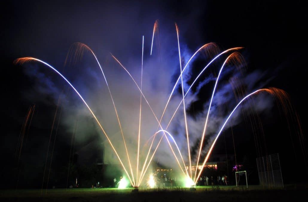 Leises Barock Feuerwerk, blaue Römische Lichter, Grüne Fontänen